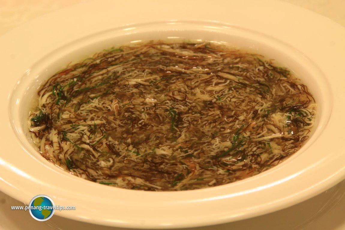 Braised Shredded Beancurd, Black Moss, Shredded Black Fungus and Shredded Carrot in Chicken Stock