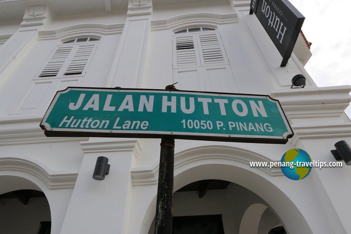 Jalan Hutton road sign