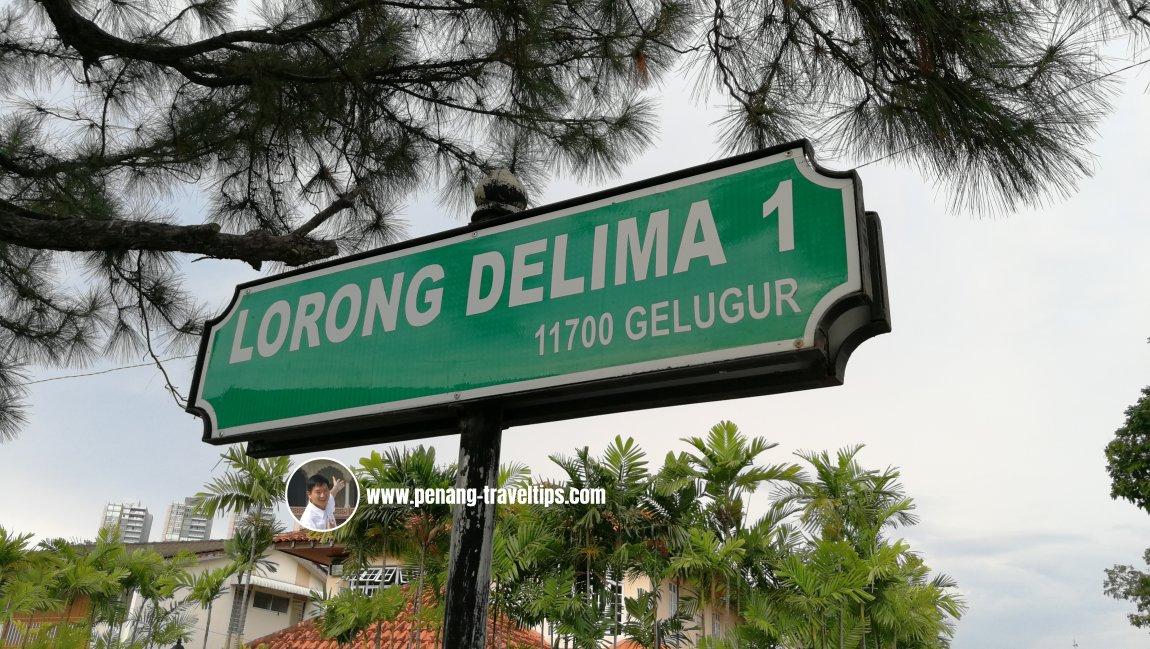 Lorong Delima 1 roadsign