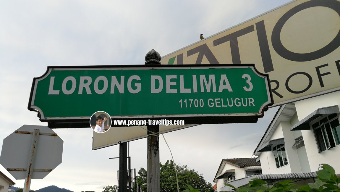 Lorong Delima 3 roadsign