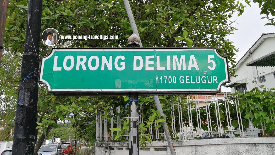 Lorong Delima 5 roadsign