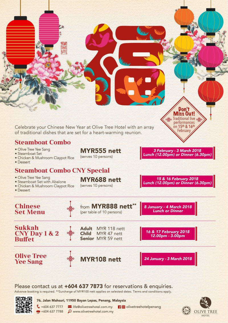 Olive Tree Hotel 2018 Chinese New Year Promotions