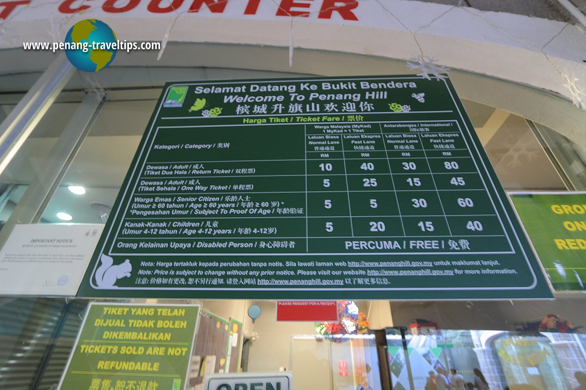 Penang Hill Train Ticket Fare