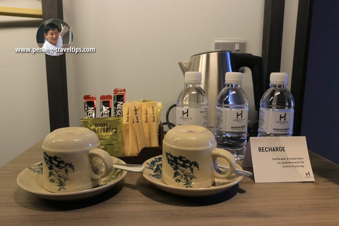 Bottled water, and tea-and-coffee-making amenities in the room