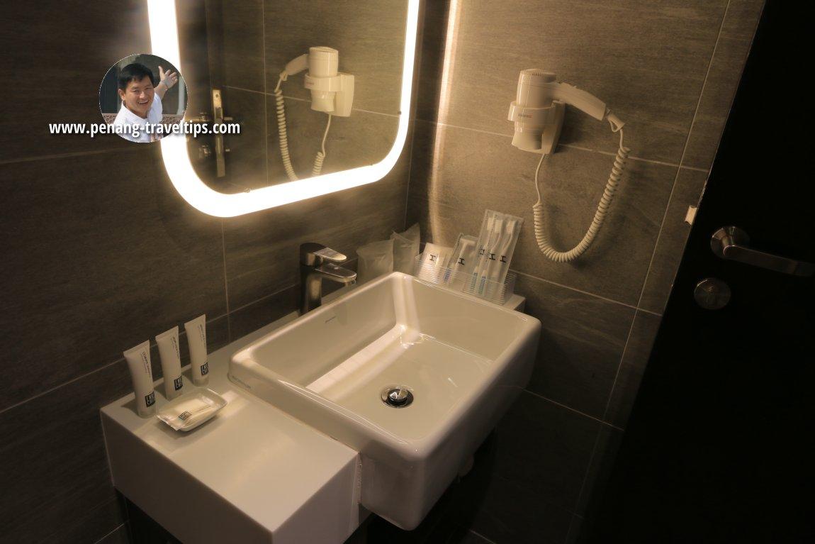 Wash basin and toiletries