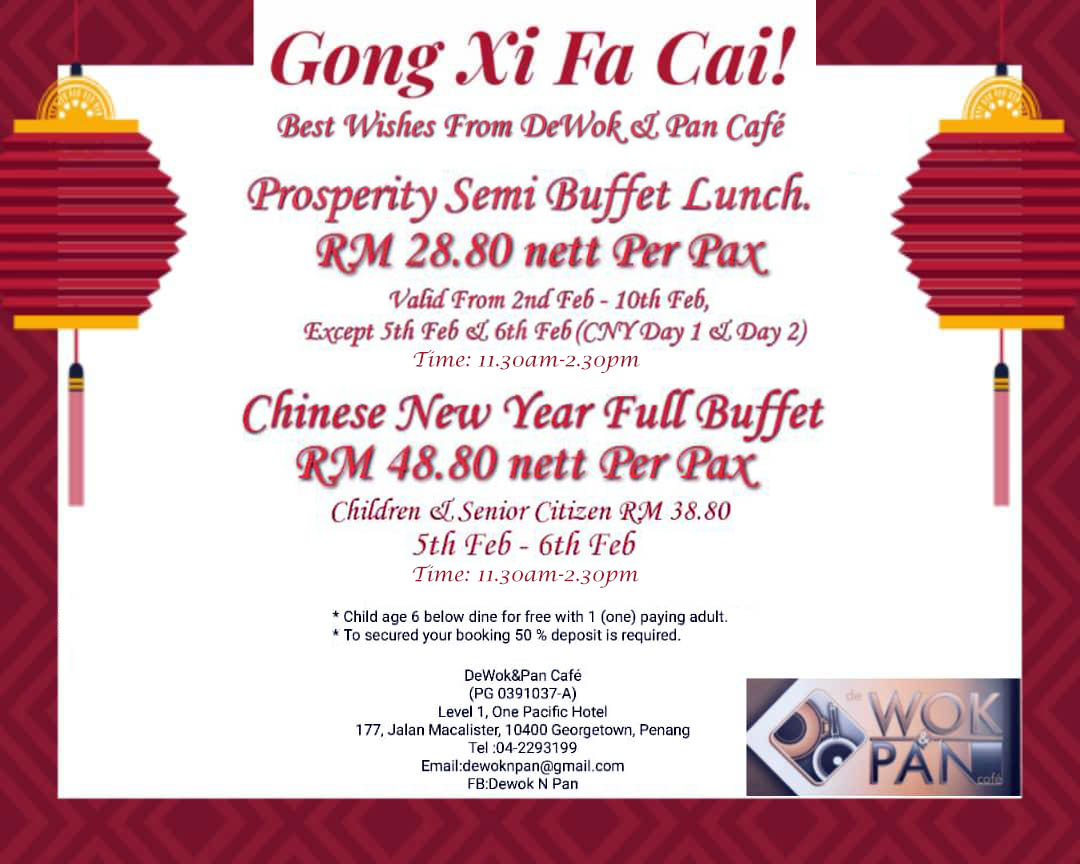 De Wok & Pan Cafe's 2019 Chinese New Year Options