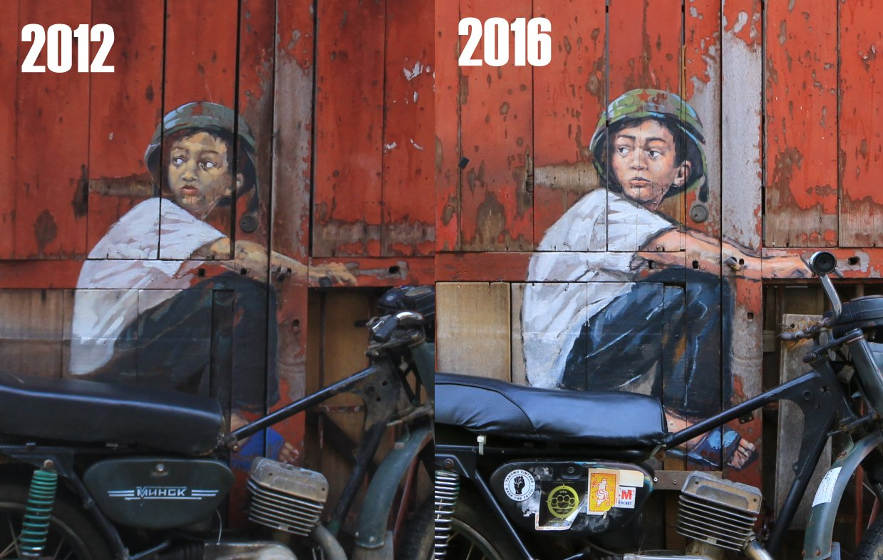 Before and After of the Boy On A Bike mural