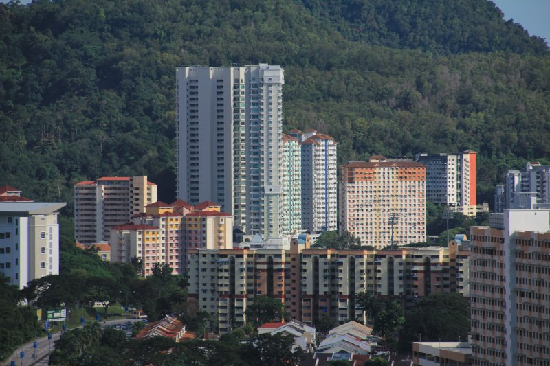High rise apartments at the foot of Bukit Gambir