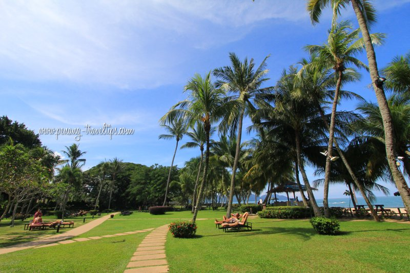 The lawn area of the Rasa Sayang Resort