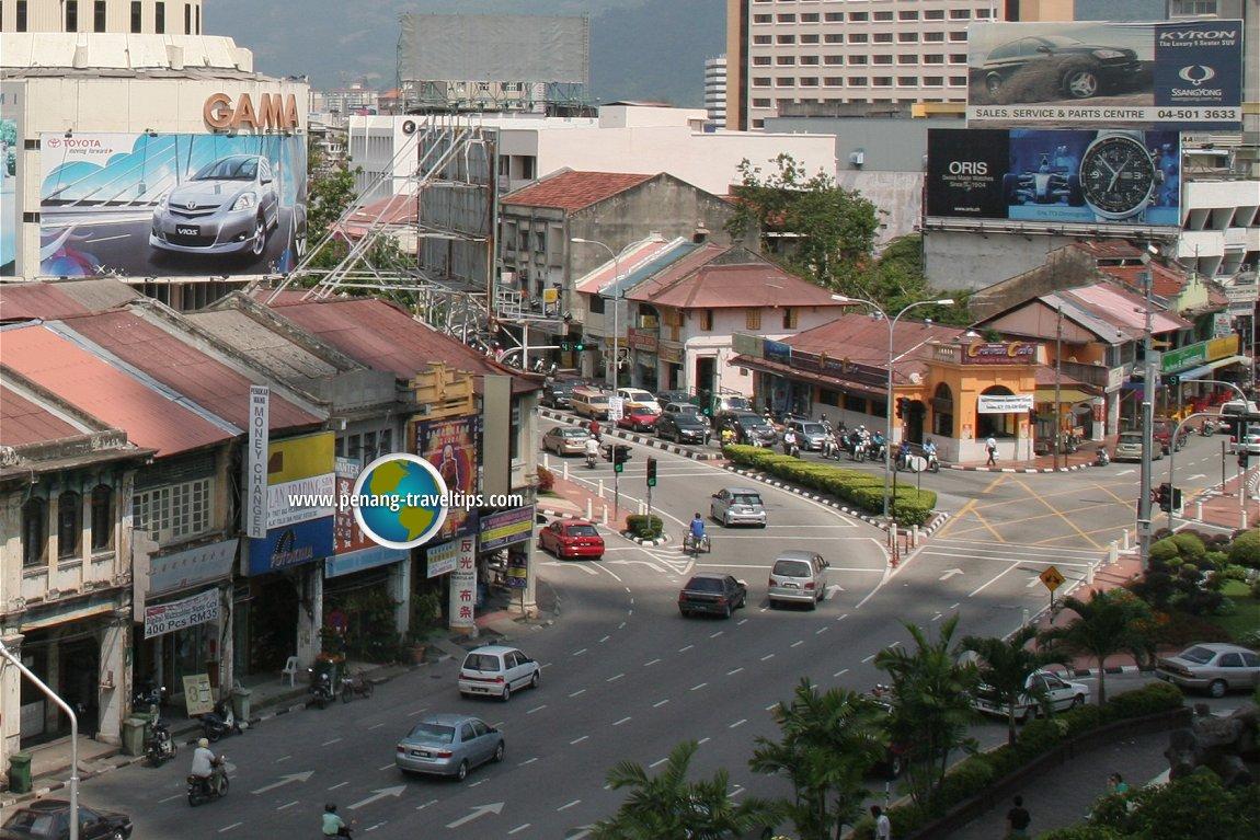 Simpang Enam, dilihat dari Komtar