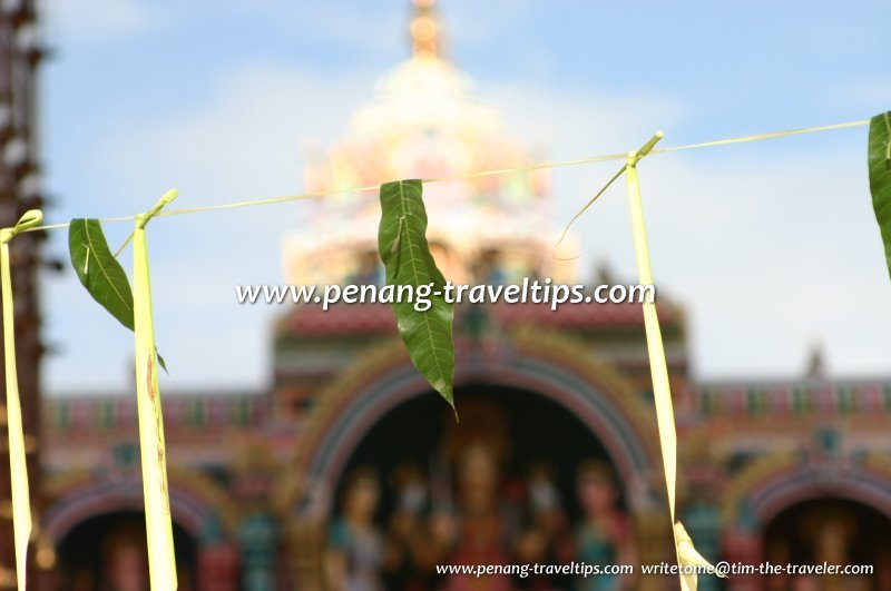 Mango leaves tied at the entrance, Arulmigu Karumariamman Temple