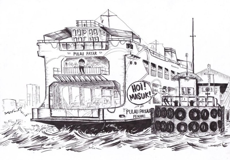 ME's caricature of the Penang Ferry