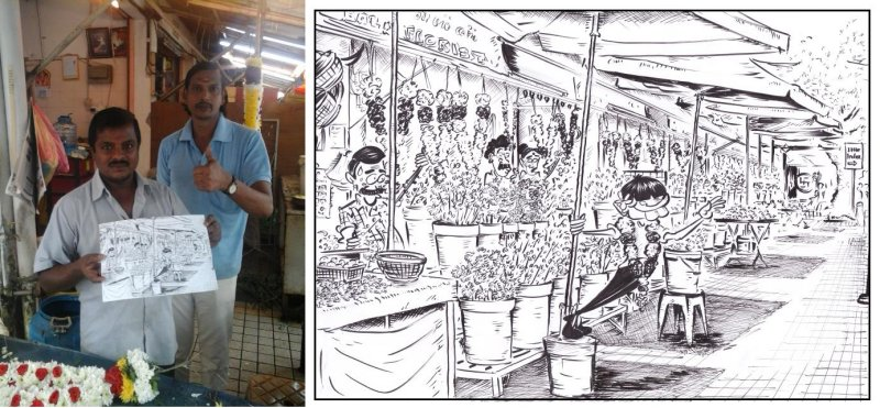 ME's caricature of the Pitt Street Indian Florists