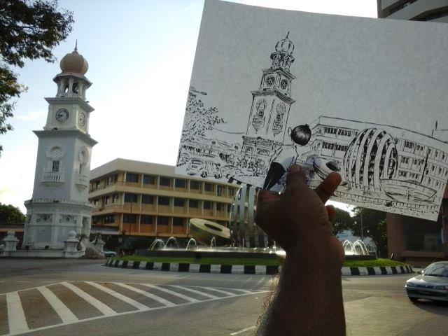 ME's ink rendition of the Queen Victoria Clocktower