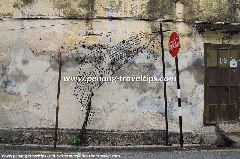 One Leg Kicks All Sculpture, Stewart Lane, George Town, Penang