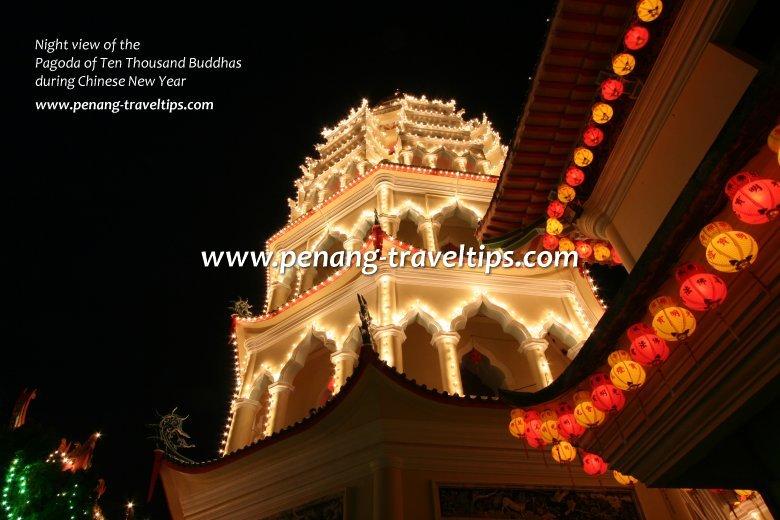 Pagoda of 10000 Buddhas, night view