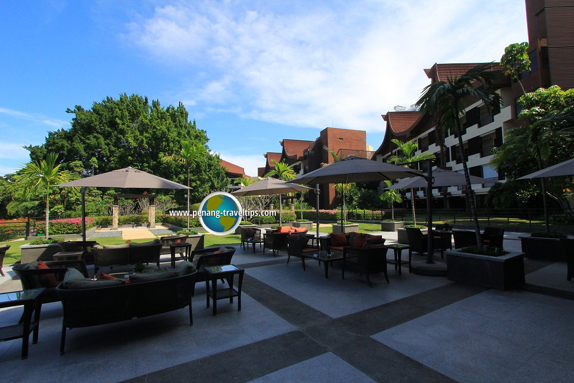 A quiet patio area at Rasa Sayang Resort
