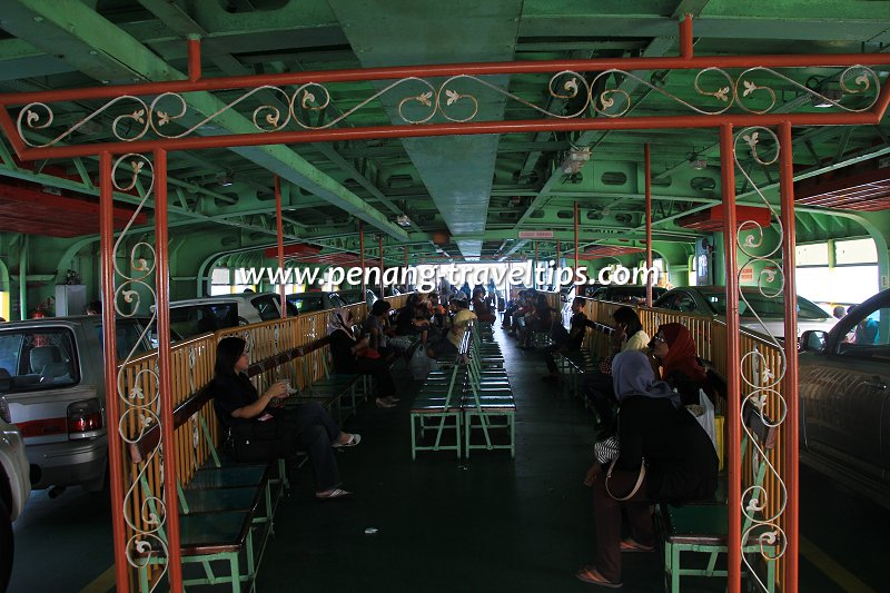 Passenger benches on board a Penang Ferry