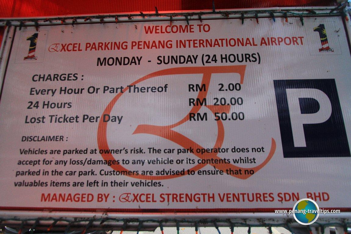 Parking fees at Penang International Airport