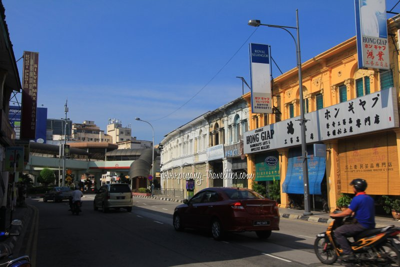 Penang Road, looking towards junctions of Prangin and Burmah Roads