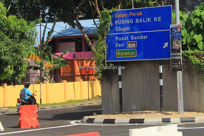 New signboard at south end of Perak Road informing of new traffic flow