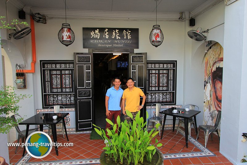 Timothy Tye with Mr Lee, manager of Ryokan Muntri Boutique Hostel