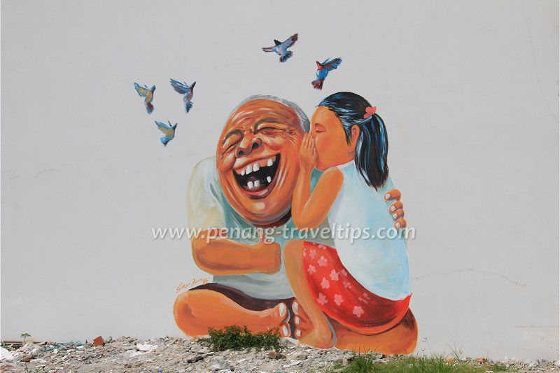 Simon Tan's Ah Kong Mural at Pinang's Pinang Art Gallery