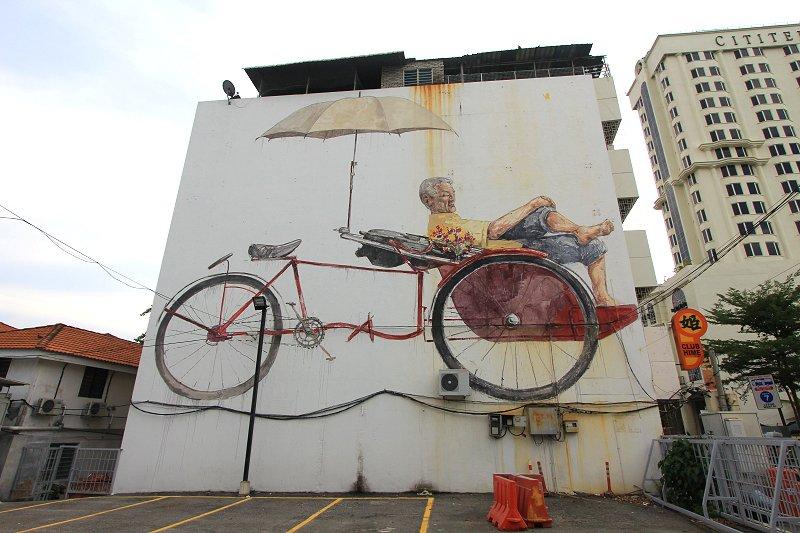 The Awaiting Trishaw Pedaler Mural, Penang Road, George Town, Penang