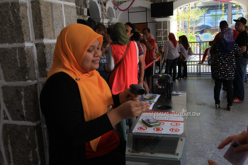 Ticket scanning, Penang Hill Railway