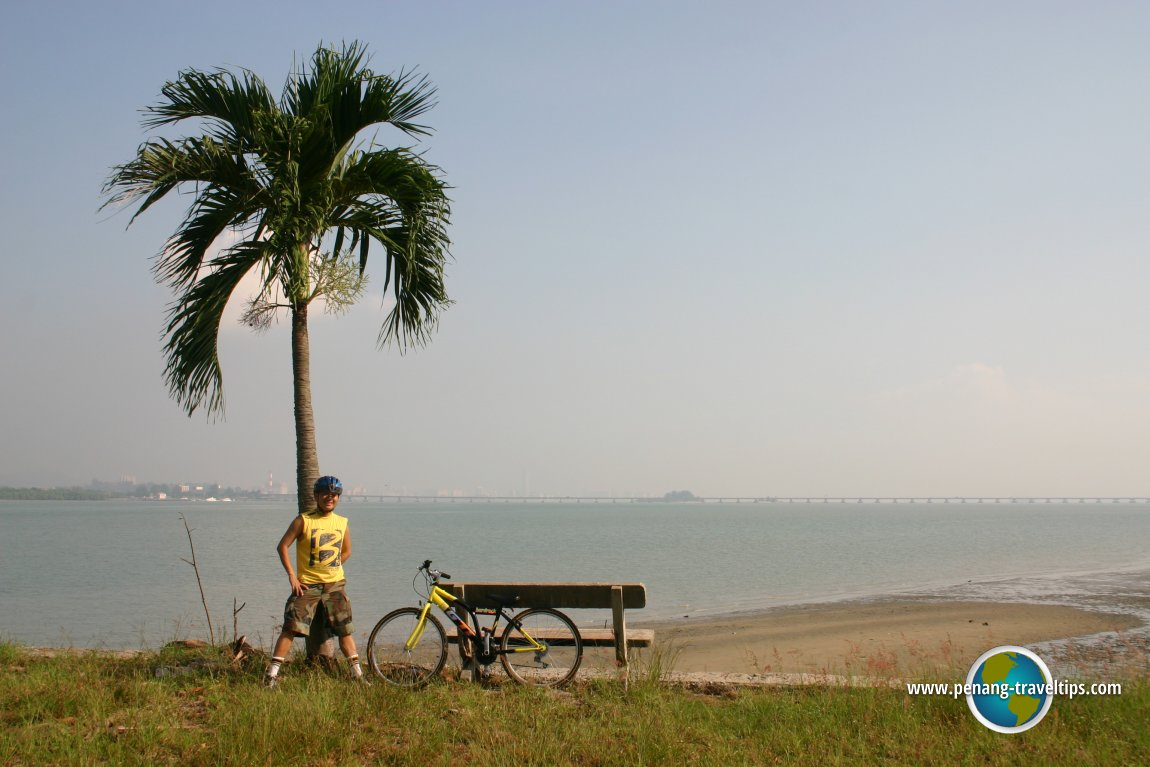 Tim at Pulau Jerejak, with the Penang Bridge in the background