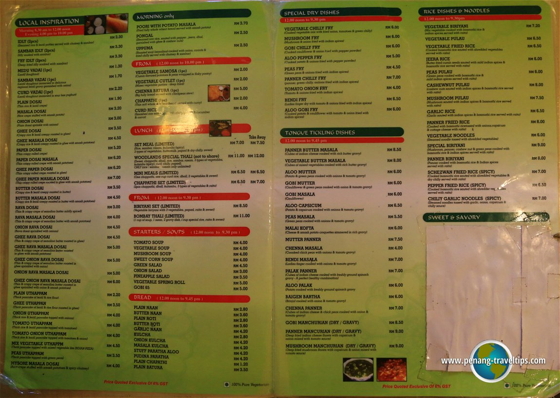 Woodlands Indian Restaurant Menu