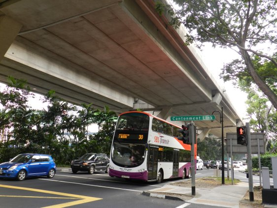 Keppel Road, with the Ayer Rajah Expressway on the Keppel Viaduct overhead