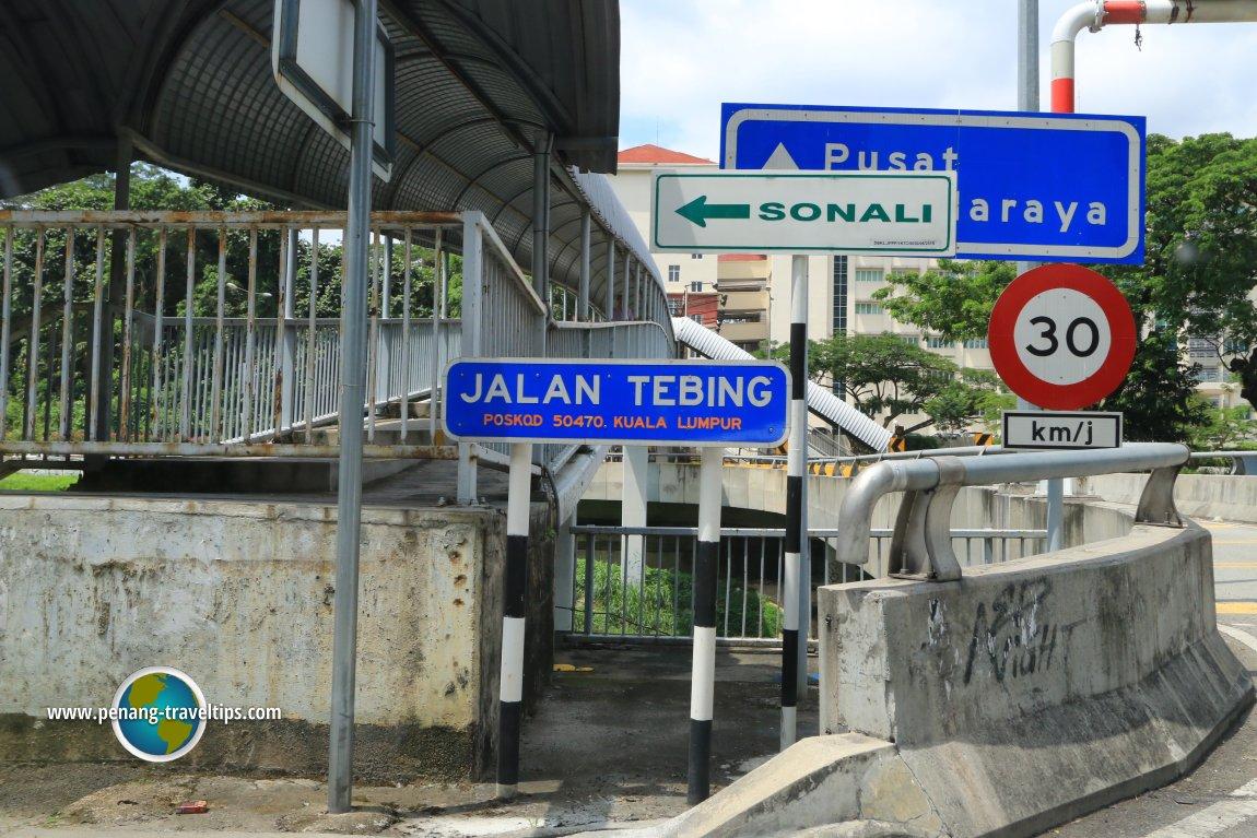 Jalan Tebing road sign
