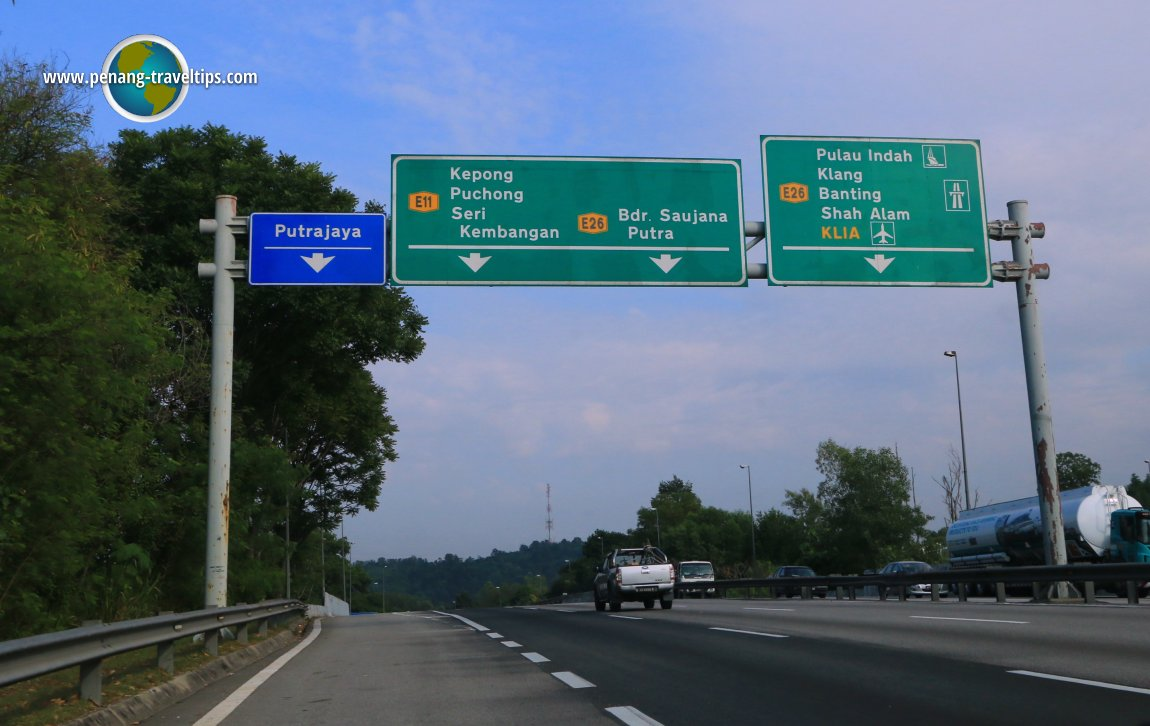 Putrajaya exit on the South Klang Valley Expressway