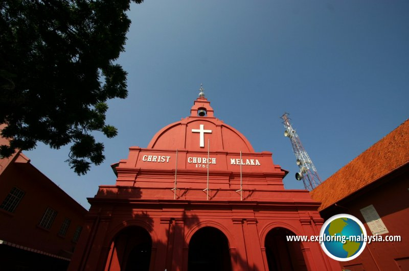 Front view of Christ Church in Melaka