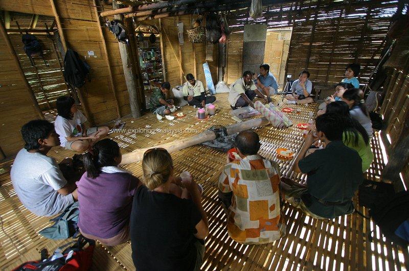 Inside an orang asli hut
