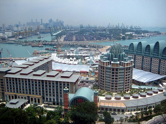 View of the resorts being developed on Sentosa Island