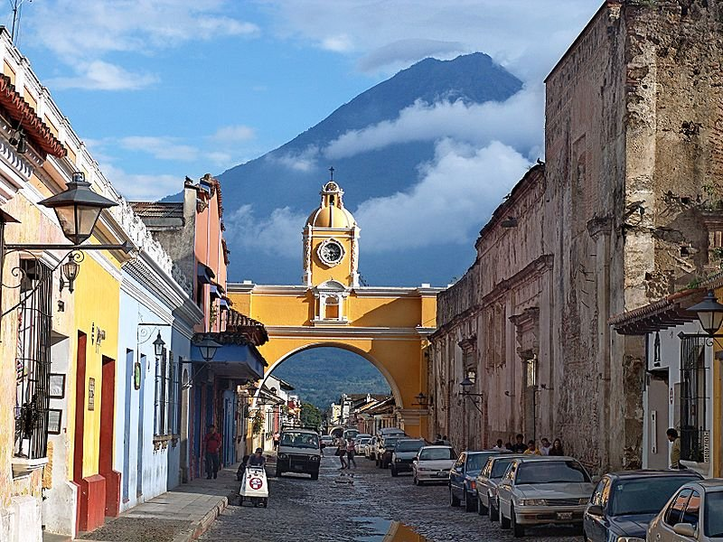 Antigua Guatemala with Vulcan de Agua in the background