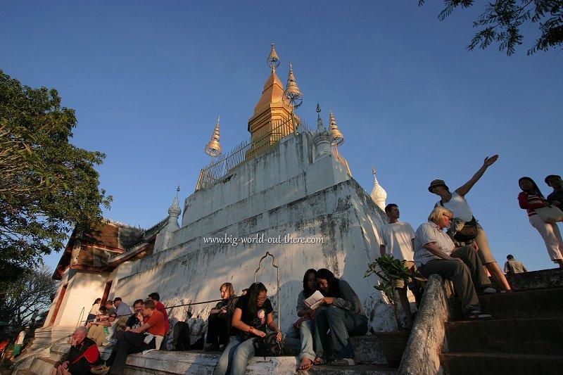 Tourists awaiting the sunset on Mount Phousi, Luang Prabang