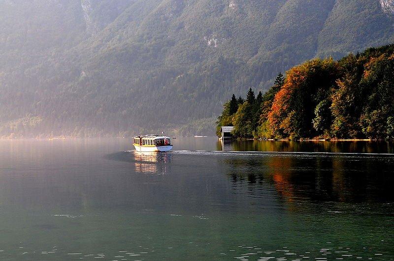 Boat on Lake Bohinj in the Upper Carniola, Slovenia