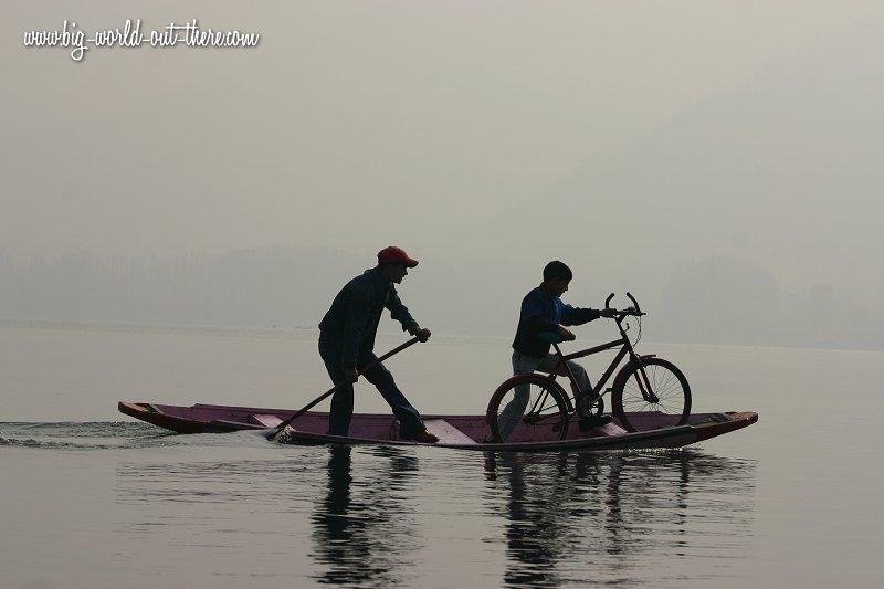 Boys crossing Dal Lake, Srinagar