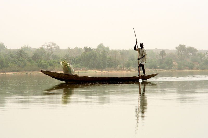 Canoe on the Niver River in Niamey