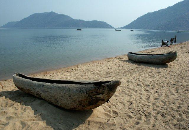 Canoes at Monkey Bay, Malawi