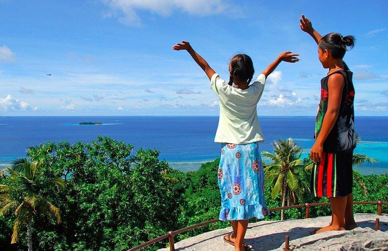 Children on Weno Island, Chuuk, Micronesia