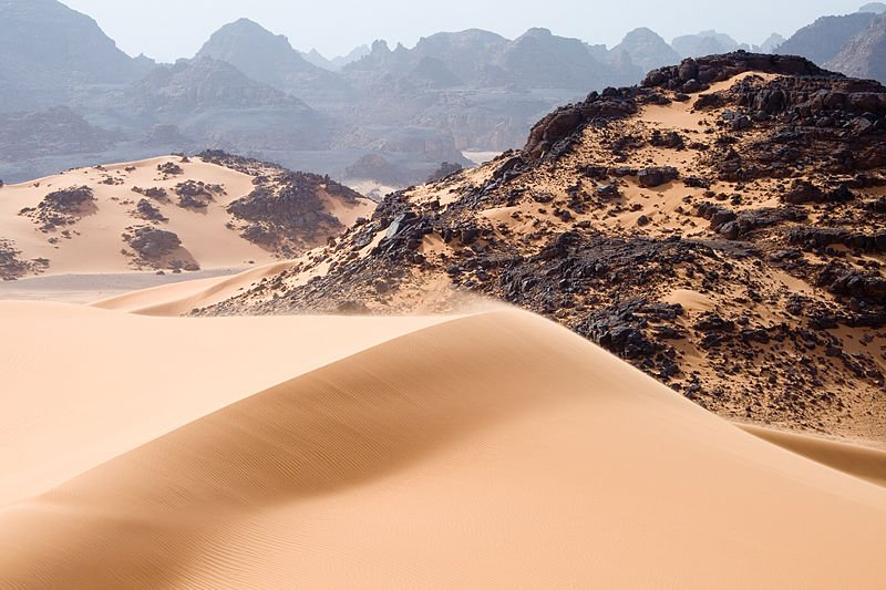 The desert and sand dunes in Libya