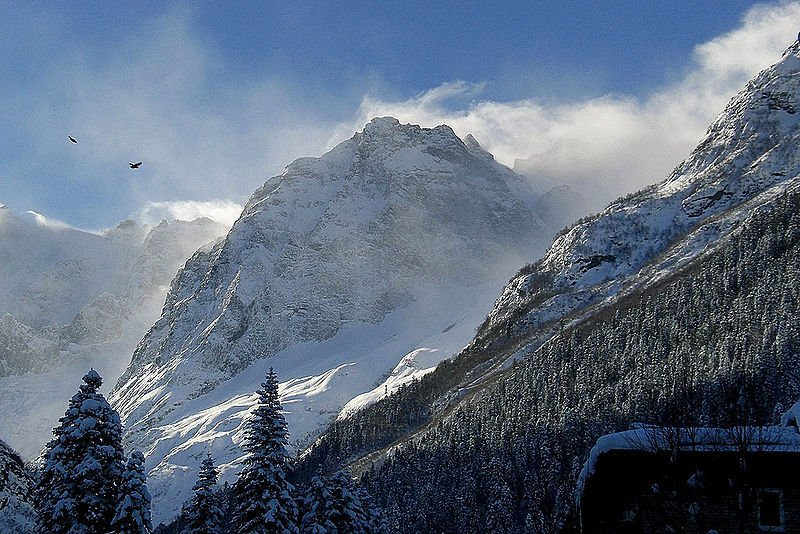 Dombay Mountains in the Caucasus, Russia