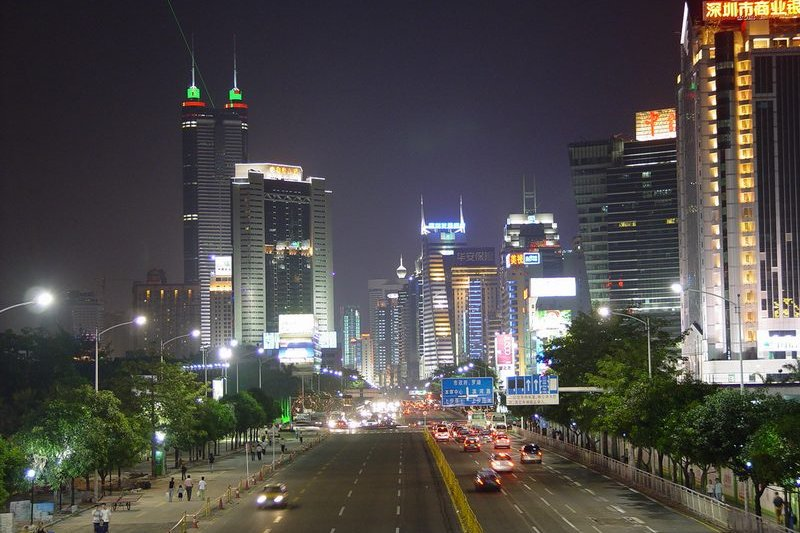 Downtown Shenzhen at night