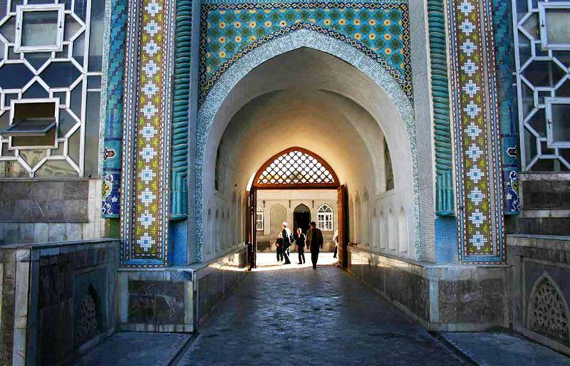 Entrance to a mosque in Dushanbe, Tajikistan