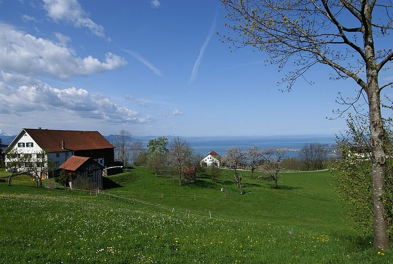 Eichenberg, Austria, with Lake Constance in the background
