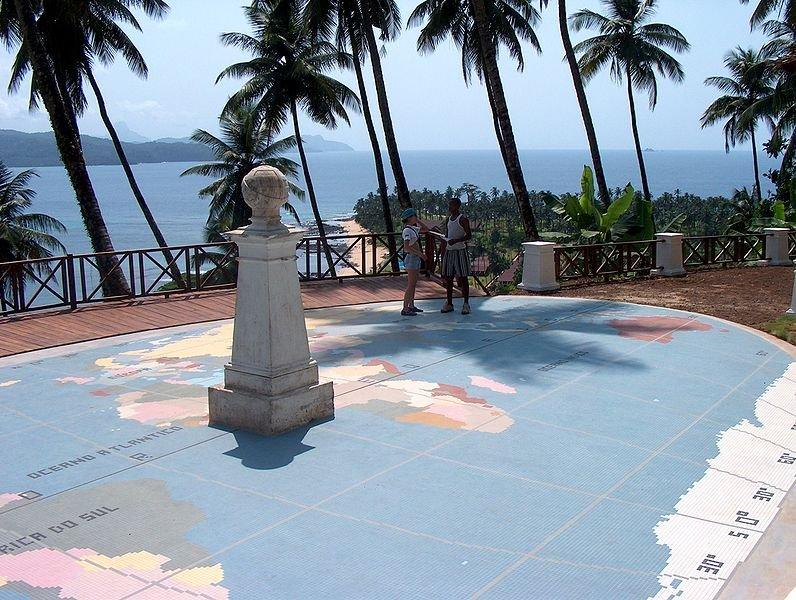 The equator marker on São Tomé